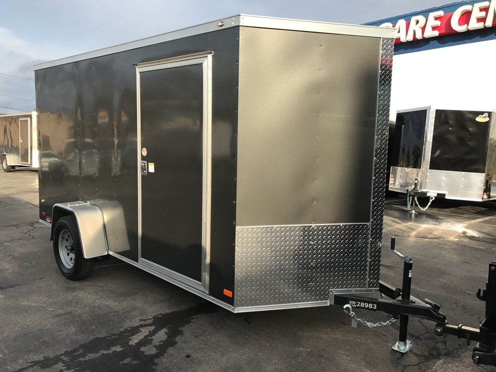 Ez Way Auto Sales >> Enclosed Cargo Trailer 6'x10'+2'V CHARCOAL RAMP Covered ...