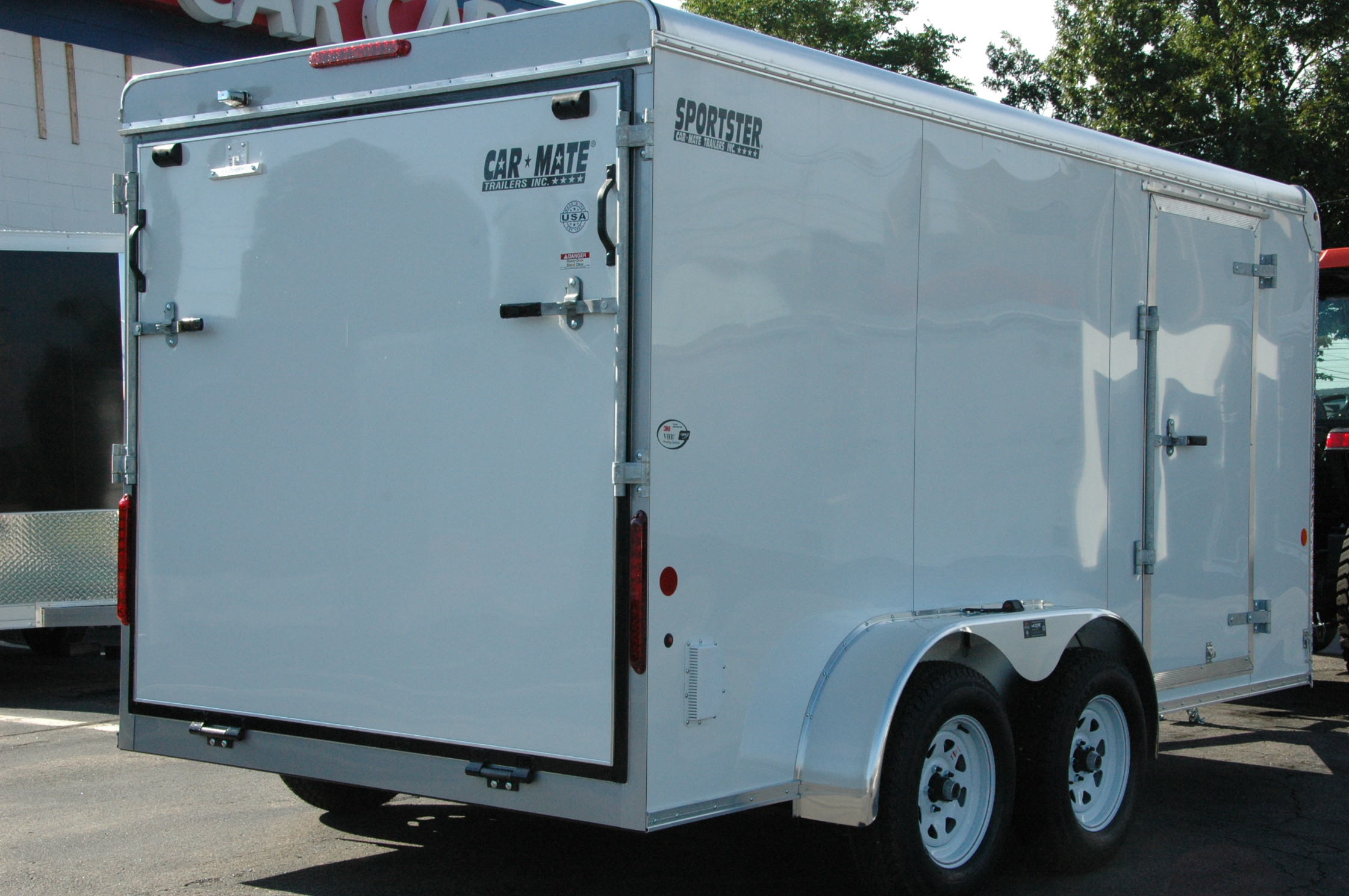 Enclosed Cargo Trailer 7 X14 White Ramp Car Mate Custom
