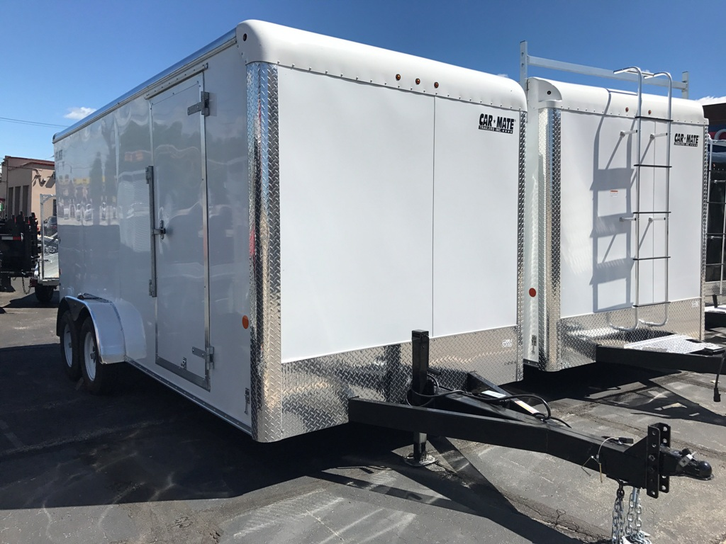 Enclosed Cargo Trailer 7x16 White Ramp Car Mate Custom 6 Up Xt Utility Wiring Diagram Free Picture Landscape Trailers