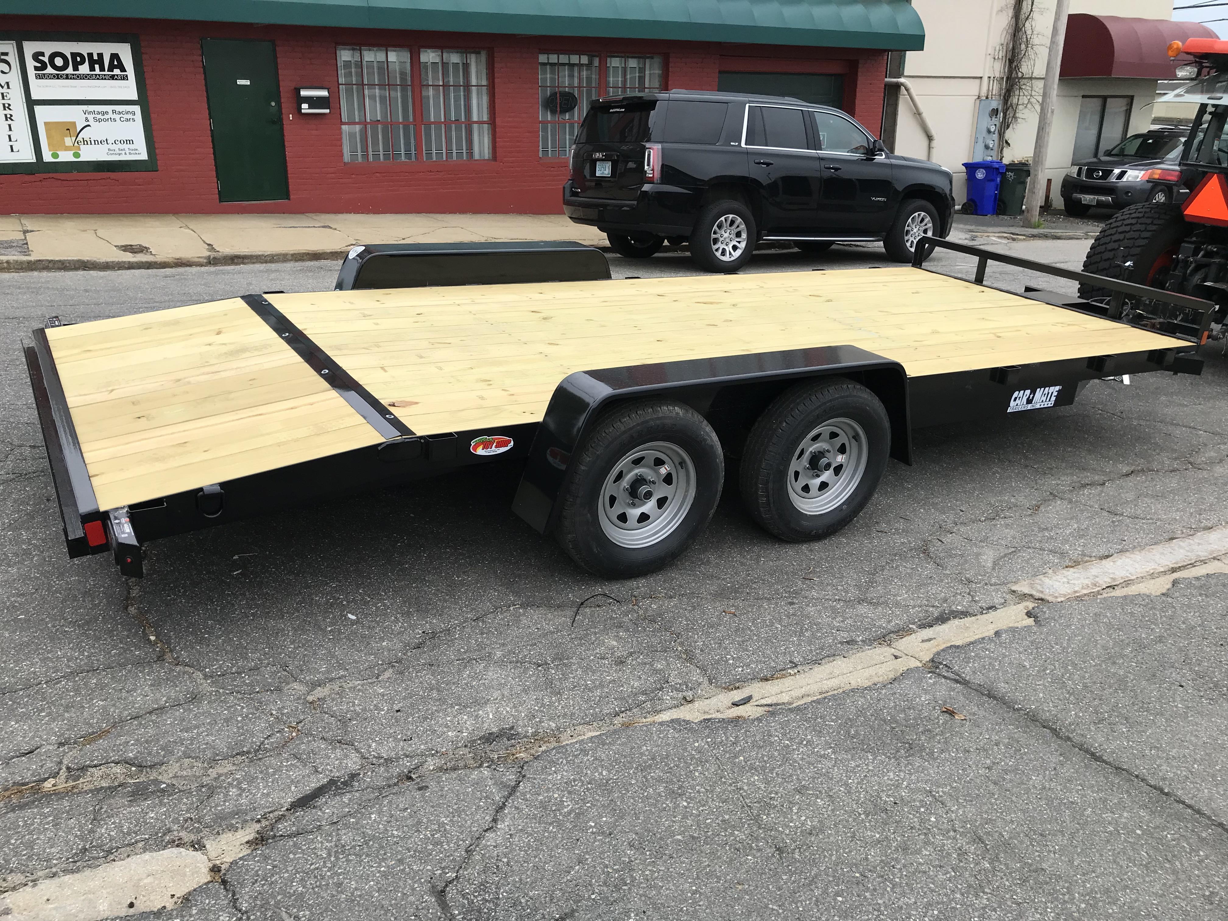 Open Car Hauler 82″x18′ BLACK Car Mate Trailer 10k GVWR - Ron\'s Toy Shop