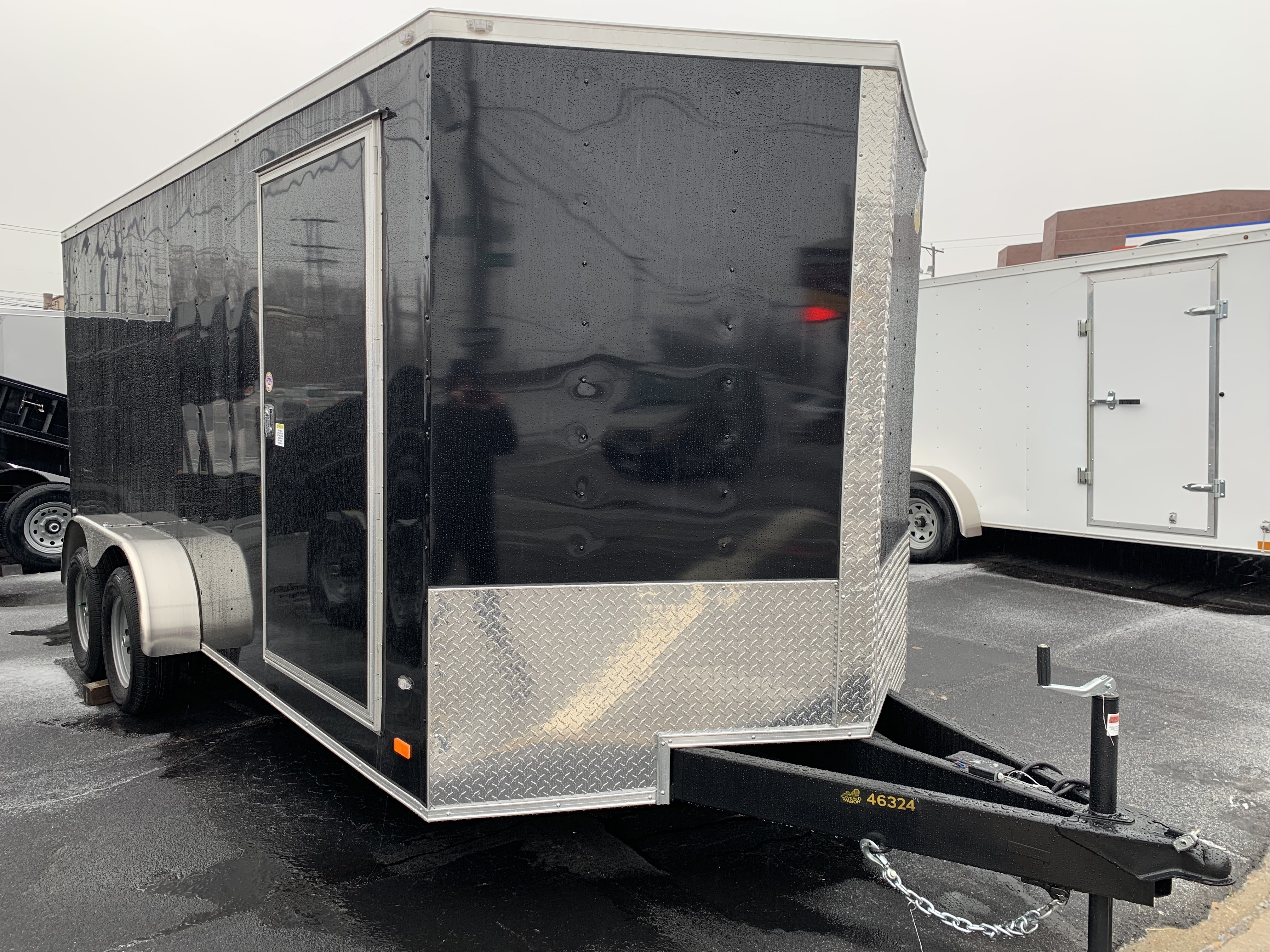 Enclosed Cargo Trailer 7x16+2'V BLACK RAMP Covered Wagon EXTENDED TONGUE